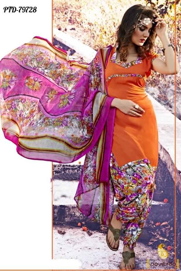 07953bea67 Printed punjabi patiala salwar kameez suits and dresses online shopping  with discount sale
